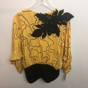 Vintage NWT Yellow and Black 2 Piece Suzie Lee Med